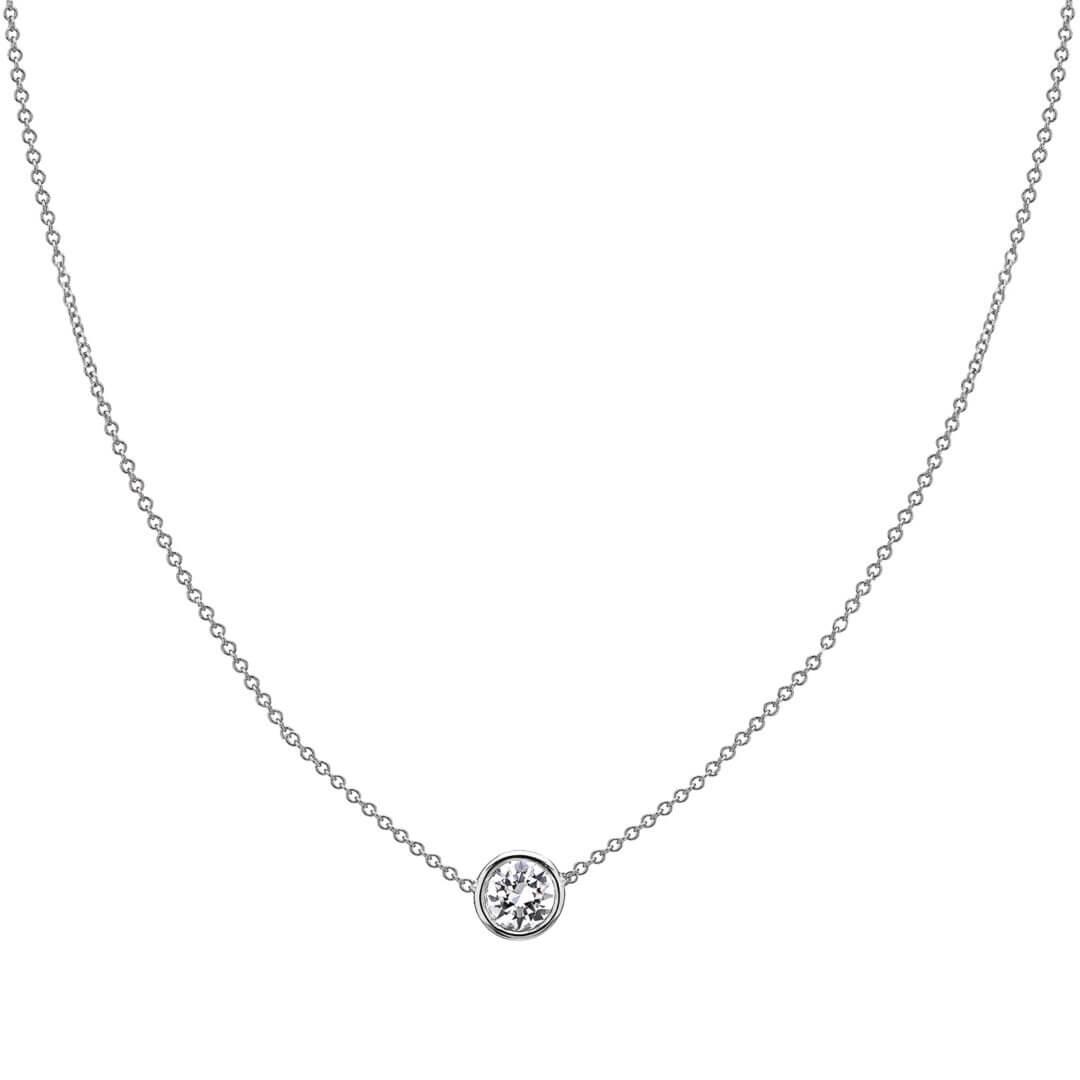 Single Diamond Bezel Necklace